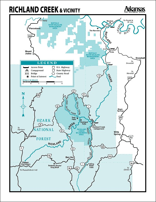 Richland Creek map courtesy of Arkansas Department of Parks and Tourism